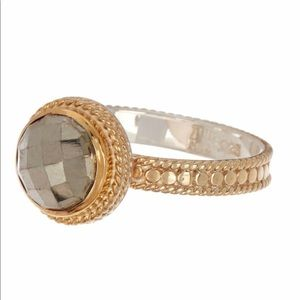 18K Gold Plated Sterling Silver Bezel Pyrite Ring